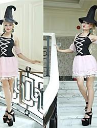 colore di contrasto in pizzo strega nera e rosa adulta donna costume di Halloween