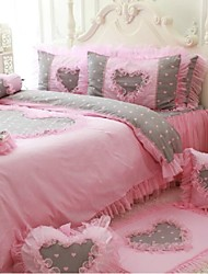 FADFAY@Korean Princess Bedding Set Pink Heart Print Lace Ruffles Duvet Cover Queen 4Pcs