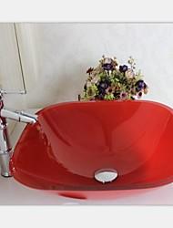 Современный красный квадрат окрашены закаленное раковины стеклянный сосуд с крана набора
