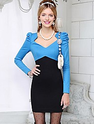 Women's Multi-color Dress , Casual Long Sleeve