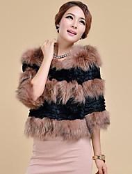 Women's Fashion Ostrich Hair Splicing Cony Hair Fur Outerwear