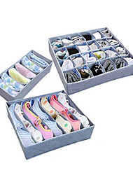 3 Pcs Bamboo Charcoal Women's Underwear Boxes With Zipper