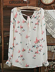 Women's Top Pigeon Pattern Drawstring Chiffon Blouse