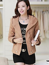 Women's Black/Brown Jackets , Casual Long Sleeve