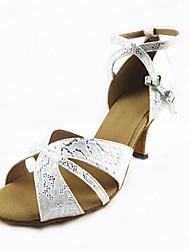 Customizable Women's Dance Shoes Latin Leatherette Customized Heel Silver
