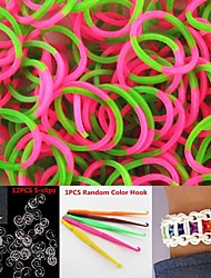 600PCS Green&Pink 4-Segment DIY Twistz Silicone Rubber Bands for Rainbow Loom Bracelets with Hook&S-clips
