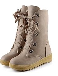 stivali scarpe da donna punta tonda tacco basso a metà polpaccio con pizzo-up più colori disponibili
