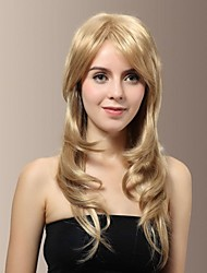 High Quality Fashionable Synthetic Japanese Kanekalon Synthetic Charming Long Wavy Blonde Color Hair Wigs with Side Bang