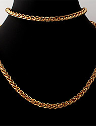 Men's Twisted Link Chain Necklace Bracelet 18K Chunky Gold Plated  Chains