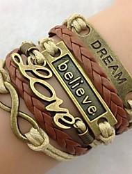 vrouwen stijlvol en mooi met de hand gevlochten lederen koord armband