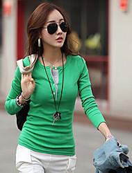 mulheres estilo cidade v pescoço camisa macia