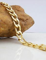 18K Golden Plated Figaro Chain Bracelet 20cm