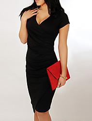 V шеи с коротким рукавом тонкий совместное платье Риччи женщин