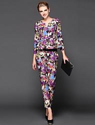 perles v-cou des femmes floral manches longues imprimé costume décontracté (blouse&pantalon)