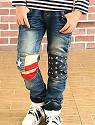 Boy's Stars Applique Fashion Denim Jeans