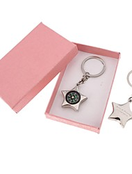 Personalized Five-pointed Star Compass Stainless  Steel  Key Chain---Set of 6