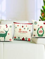 веселый набор рождество из 3 хлопка / льняной декоративной подушки крышки