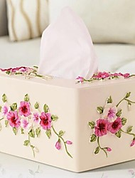 HOSHINE® Novelty Modern Style Pansy Flower Polyresin Tissue Box
