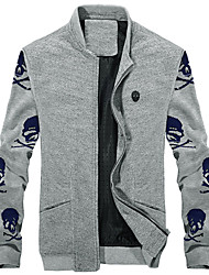 Y.Kay Men's Stand Collar Skull Pattern Thermal Jacket