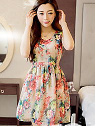 Misumixiu Women's Floral Chiffon Dress