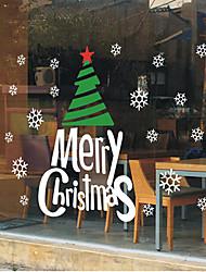 "merry christmas classico albero decorativo e parole vetrofania (78.72 ""w × 27.6"" l)"