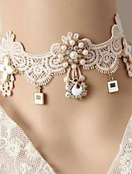 Women's Retro Court Pale Pink Lace Bride Necklace