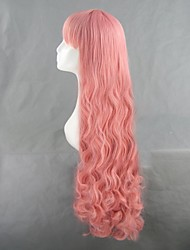 Parrucche Cosplay Cosplay Cosplay Rosa Lungo Anime Parrucche Cosplay 110 CM Tessuno resistente a calore Donna