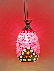 Flora Pattern Red Mosaic Glass Pendant