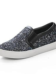 sapatos femininos rodada toe salto baixo brilho mocassins sapatos mais cores disponíveis