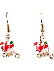 Cute Enamel Santa Claus Christmas Earrings
