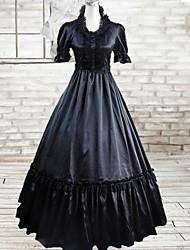 Short Sleeve Floor-length Black Cotton Gothic Lolita Dress