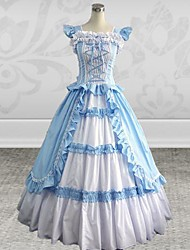 Sleeveless Floor-length Sky blue Cotton Silk Gothic Lolita Dress