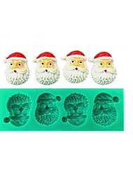 Five Holes Christmas Santa Claus Fondant Cake Chocolate Silicone Mold