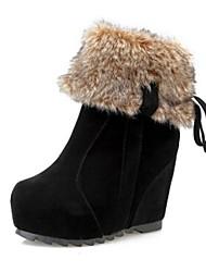 VROUWEN - Half-kuitlaarzen - Fashion Boots/Ronde Teen - Laarzen ( Zwart/Rood ) - met Wedge Heel - en Kunstleer