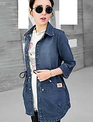 Women's Multi-color Denim Jacket , Casual Long Sleeve