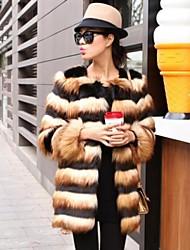 Women's Stylish Hit Color Long Hair Long Sleeve Fur Coat