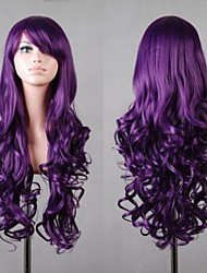 Women's New Long Curly Dark Purple Cosplay Anime Hair Wigs