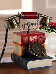 hoshine® nouveauté créative antique livre de style forme polyrésine téléphone à la maison rétro cadran
