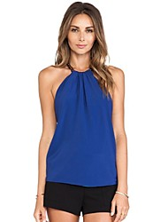 Women's Solid Blue T-shirt , Halter Sleeveless Backless/Bow