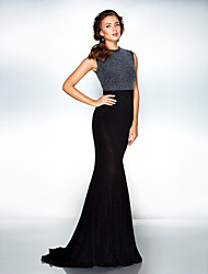TS Couture Formal Evening Dress - Celebrity Style Elegant Trumpet / Mermaid Jewel Sweep / Brush Train Jersey with Pleats