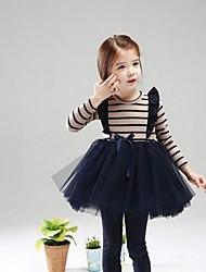 Girl's Blue / Red Dress,Striped Cotton Blend / Mesh Winter / Fall / Spring