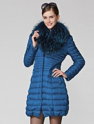 OSA ® Women's Fur Collar Long Sleeve Thicker Solid Color Down Coat Outerwear