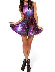 Galaxy Digital Prints Skater Dress Night Club Costume