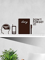 Wall Stickers Wall Decals,  Modern Don't forget to think mobile phone notebook and pen PVC Wall Stickers