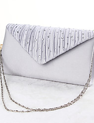 Women Silk Event/Party Evening Bag Silver Black Almond