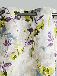 Philips Young - (Two Panels) Contemporary Artistic Ink Painting Style Lonicera Japonica Curtain