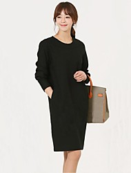 Women's Black/Yellow Dress , Casual Long Sleeve