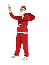 Santa Claus Red Dress with Hat and Beard for Adult