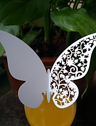 12pcs Laser Cut Butterfly Cup Name Place Escort Card for Wine Glass Wedding Christmas Party Decorations(More Colors)