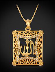 Colar imitação de diamante Colares com Pendentes / Colares Vintage Jóias Quadrado Cristal / Strass / Chapeado Dourado Dourado Dom